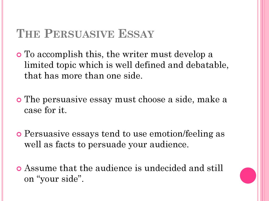Thesis Statement Examples For Persuasive Essays The Persuasive Essay To Accomplish This The Writer Must Develop A Limited  Topic Which Is Global Warming Essay In English also Buy Essay Papers Online The Persuasive Essay Purpose To Convince The Reader That The Point  English Literature Essay Structure