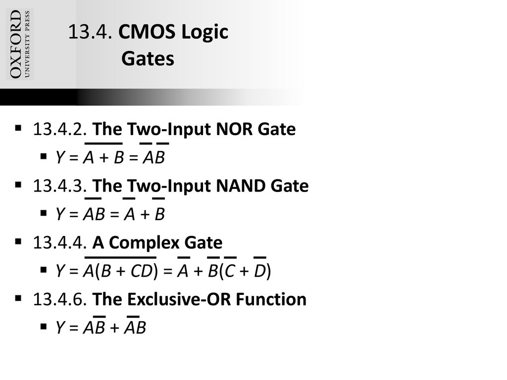 Chapter 13 Cmos Digital Logic Circuits Ppt Download Gate Circuitry Gates Electronics Textbook 48 Oxford University Publishing 134