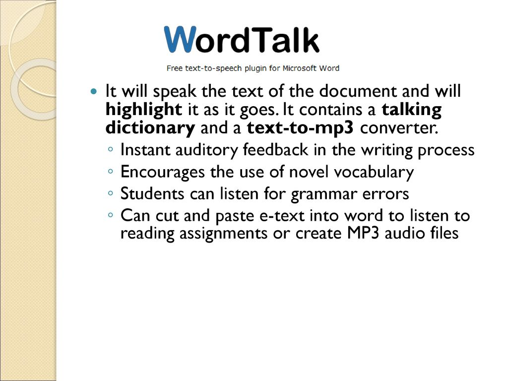 Writing and Reading Supports for Microsoft Word - ppt download