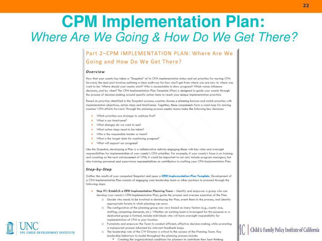 CPM LOGIC MODELING Navigating the Road to Implementation and