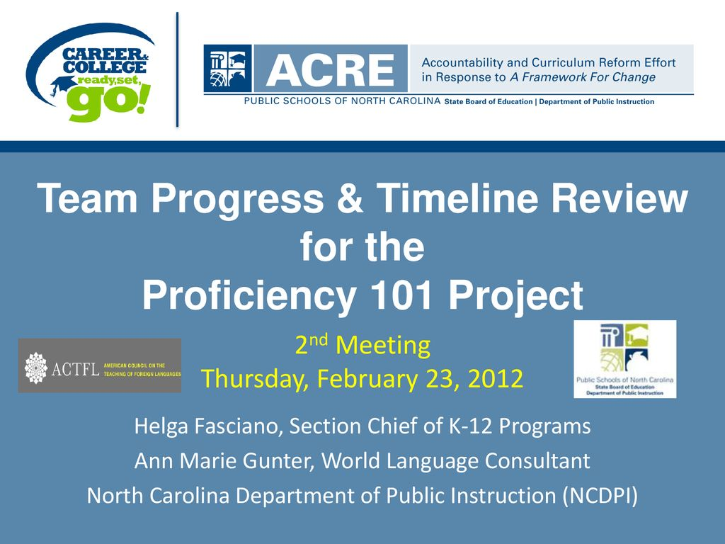 Team Progress & Timeline Review for the Proficiency 101