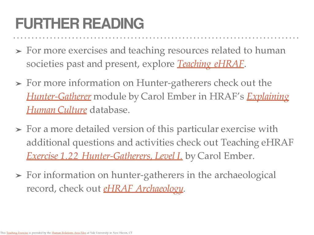 SUBSISTENCE Hunter-Gatherer Exercise - ppt download