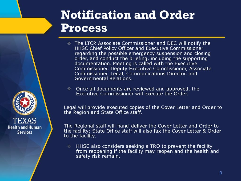 9 notification and order process