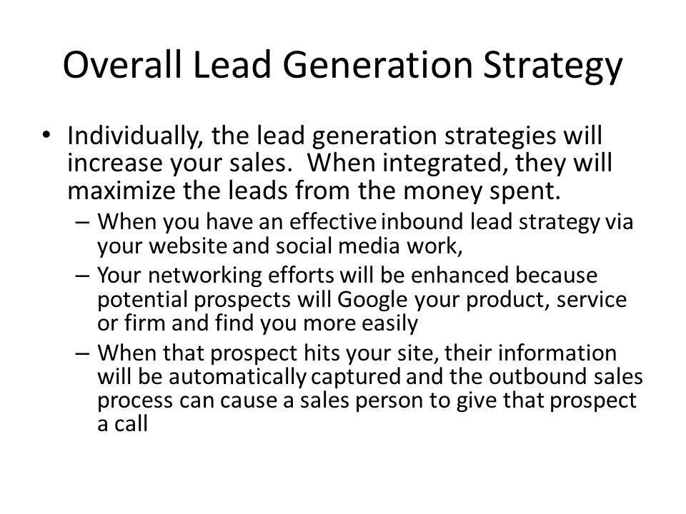 Overall Lead Generation Strategy