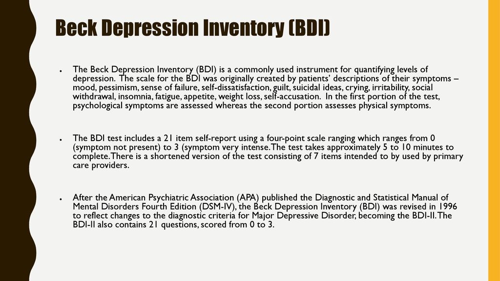 beck depression inventory test