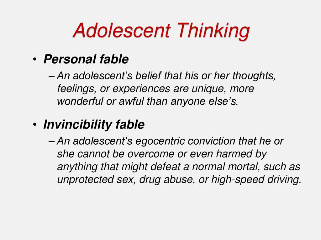examples of invincibility fable in adolescence