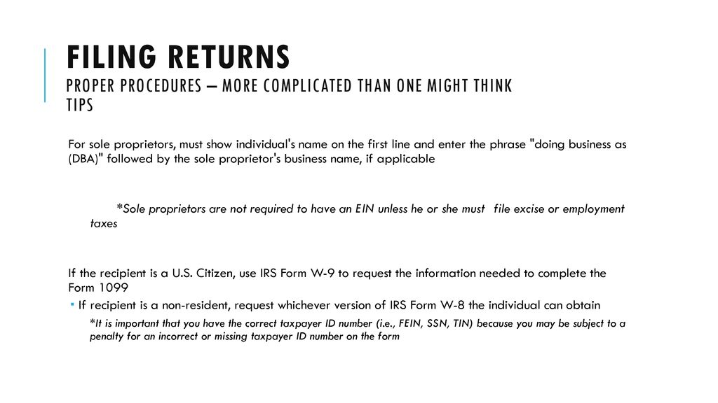 Irs form 1099 reporting: Filing returns - ppt download