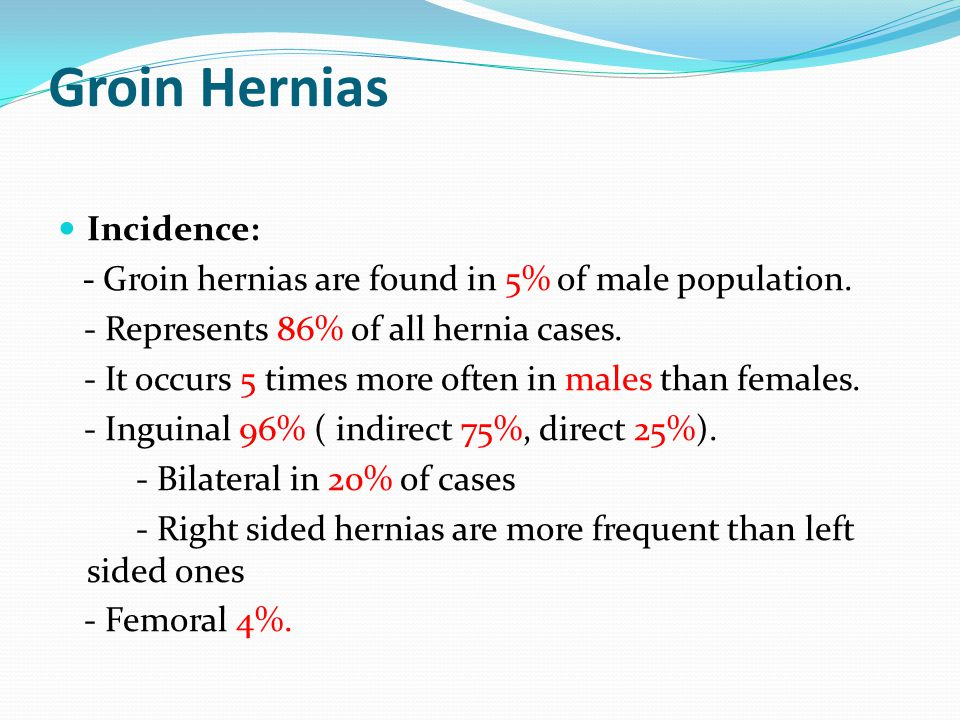 Groin Hernias Incidence: