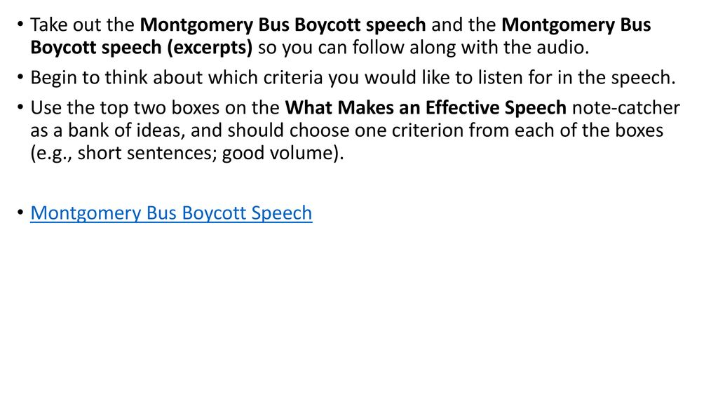 Analyzing Language In A Speech The Montgomery Bus Boycott Speech