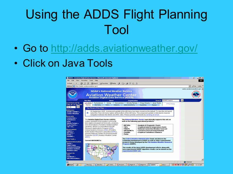 Using the ADDS Flight Planning Tool