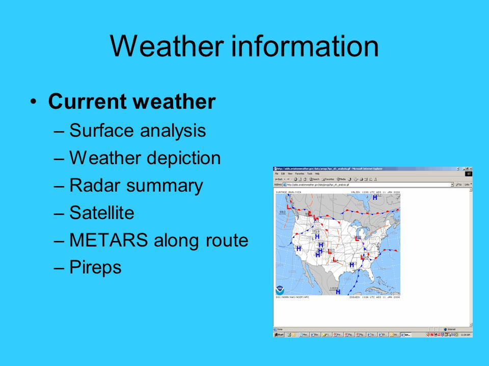 Weather information Current weather Surface analysis Weather depiction