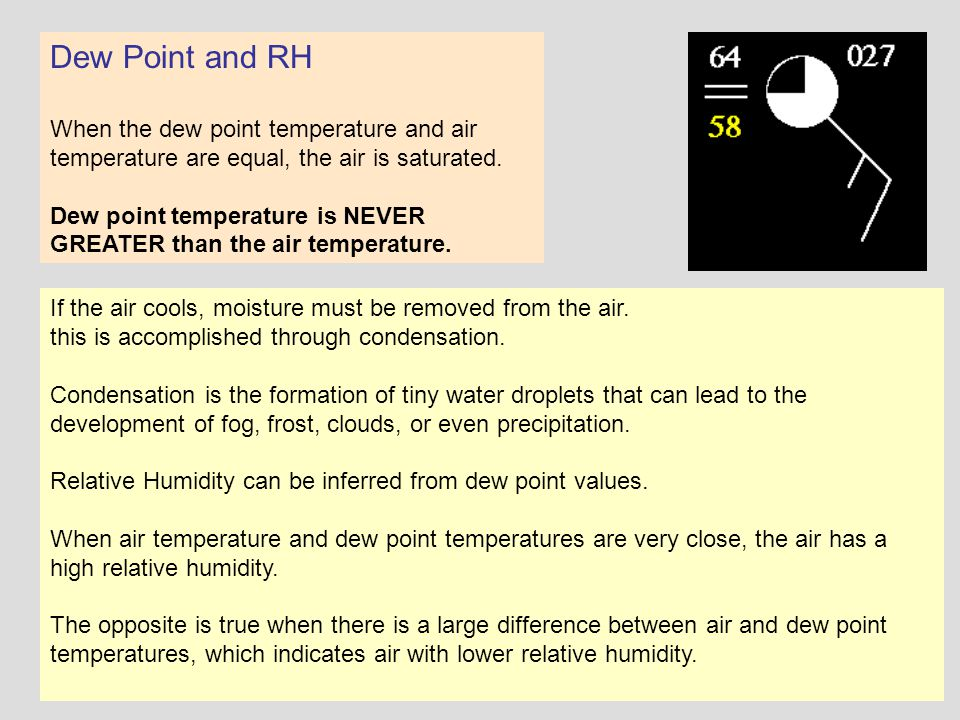 Dew Point and RH When the dew point temperature and air temperature are equal, the air is saturated.