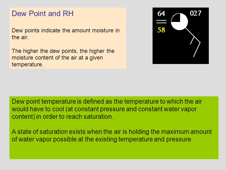 Dew Point and RH Dew points indicate the amount moisture in the air.