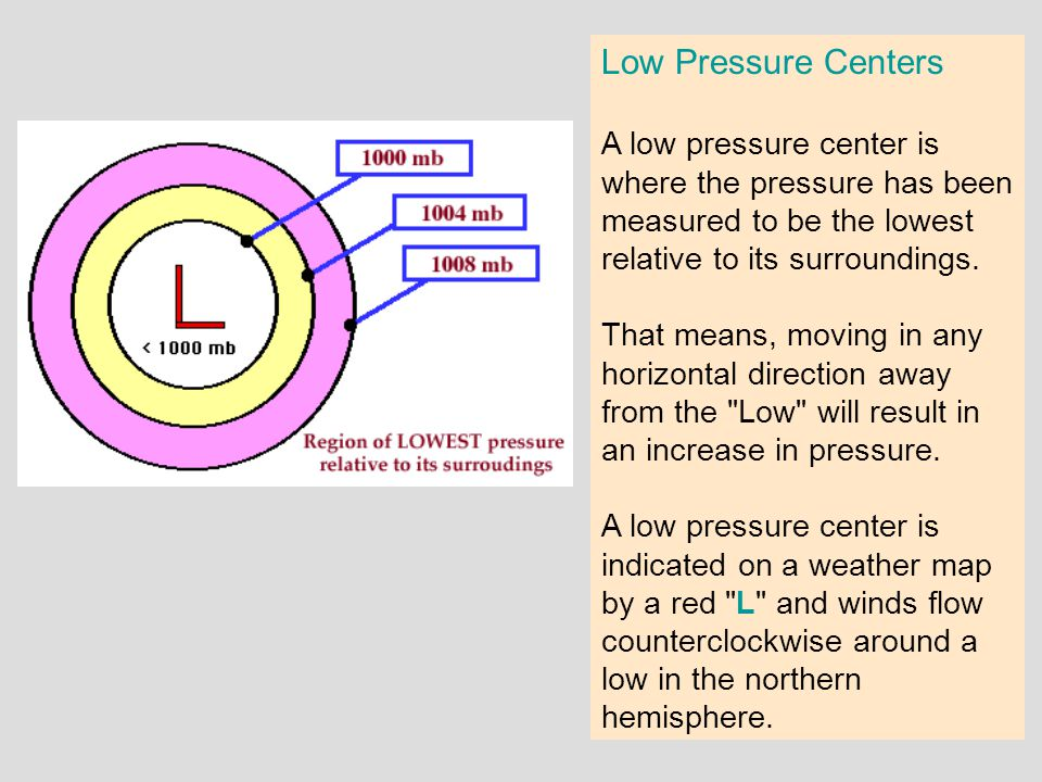Low Pressure Centers A low pressure center is where the pressure has been measured to be the lowest relative to its surroundings.