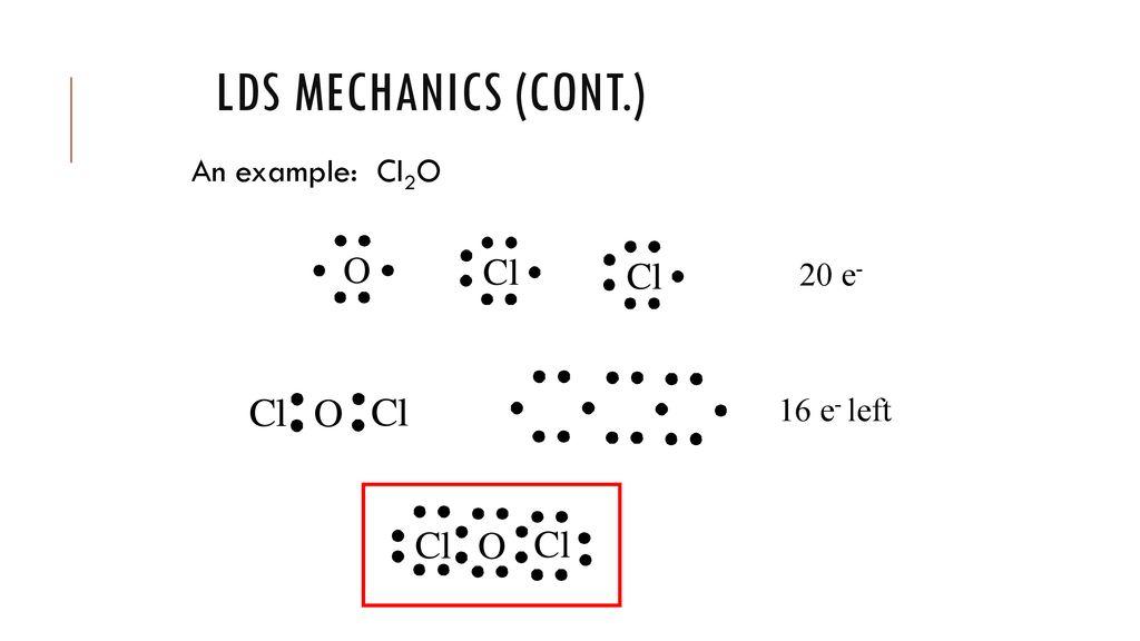 an example: cl2o 20 e- 16 e- left