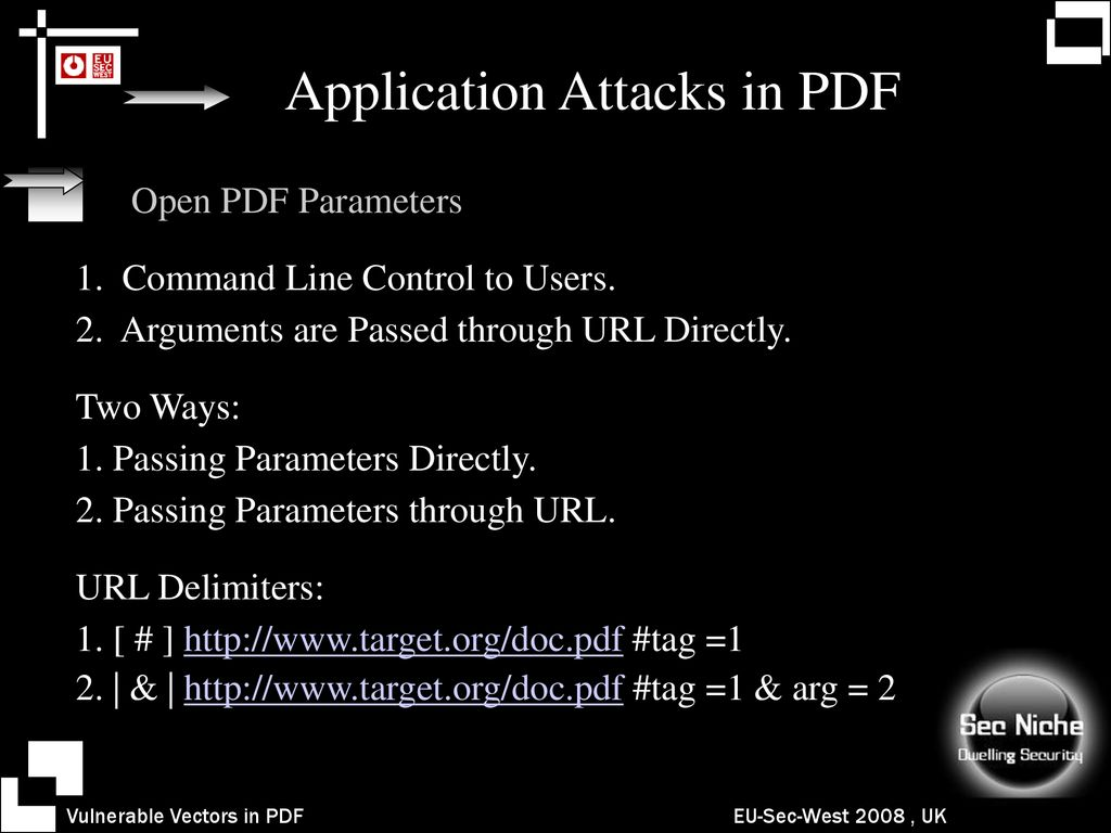 Vulnerability Vectors in PDF Synthesizing PDF Attacks - ppt