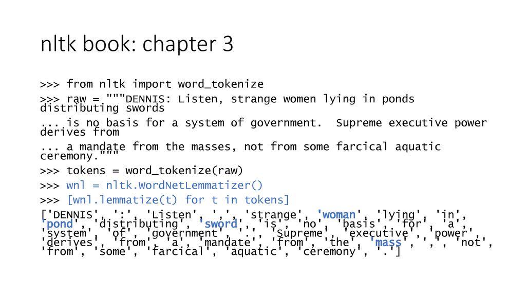 Nltk Book Lemmatization