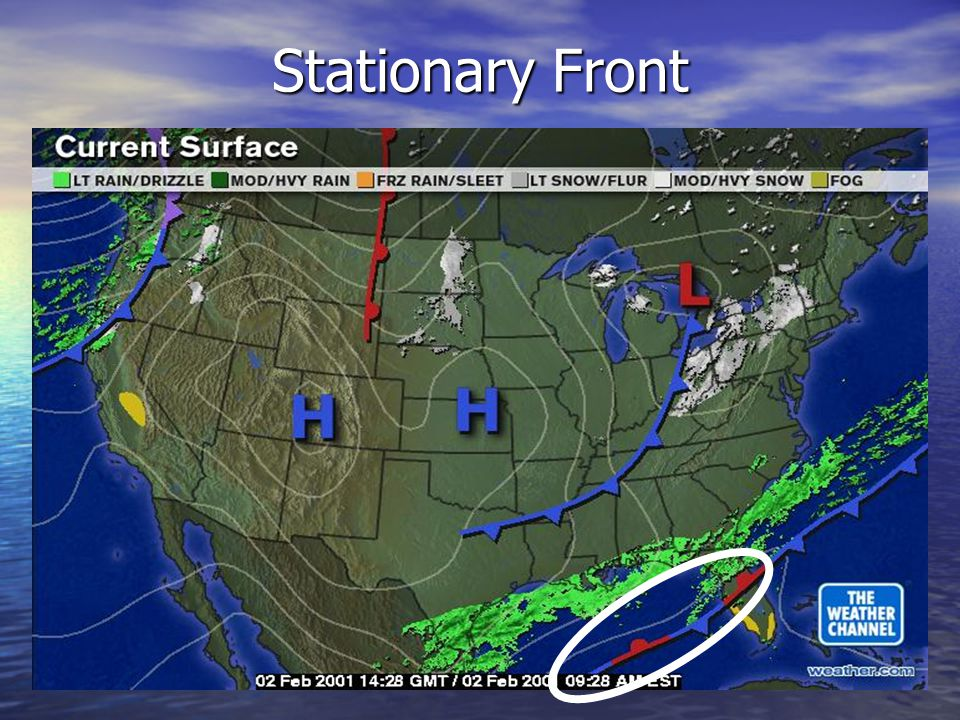 Stationary Front On A Weather Map.Teacher Page Weather Fronts Science 8th Grade Ppt Video Online