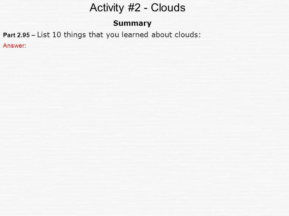 Activity #2 - Clouds Summary