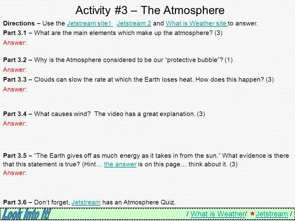 Activity #3 – The Atmosphere