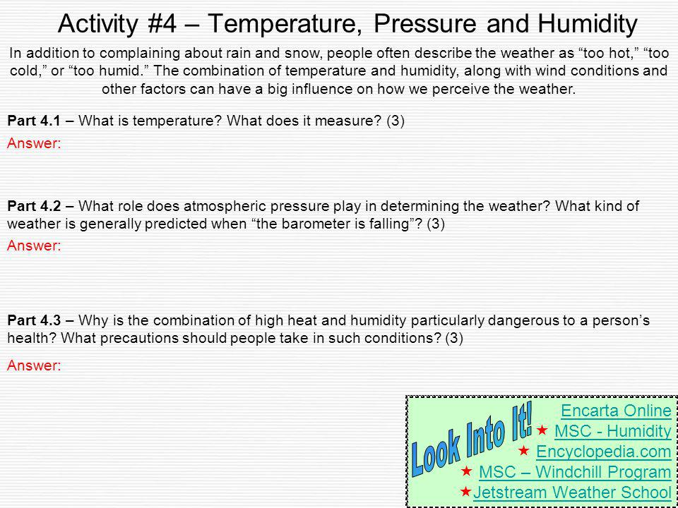 Activity #4 – Temperature, Pressure and Humidity