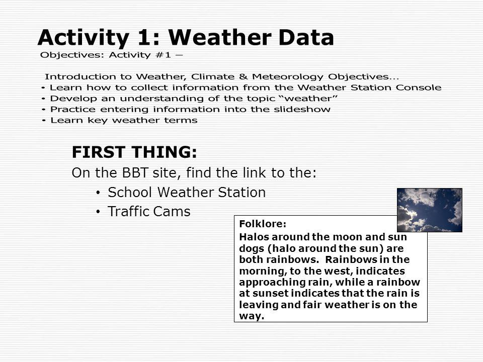 Objectives: Activity #1 –