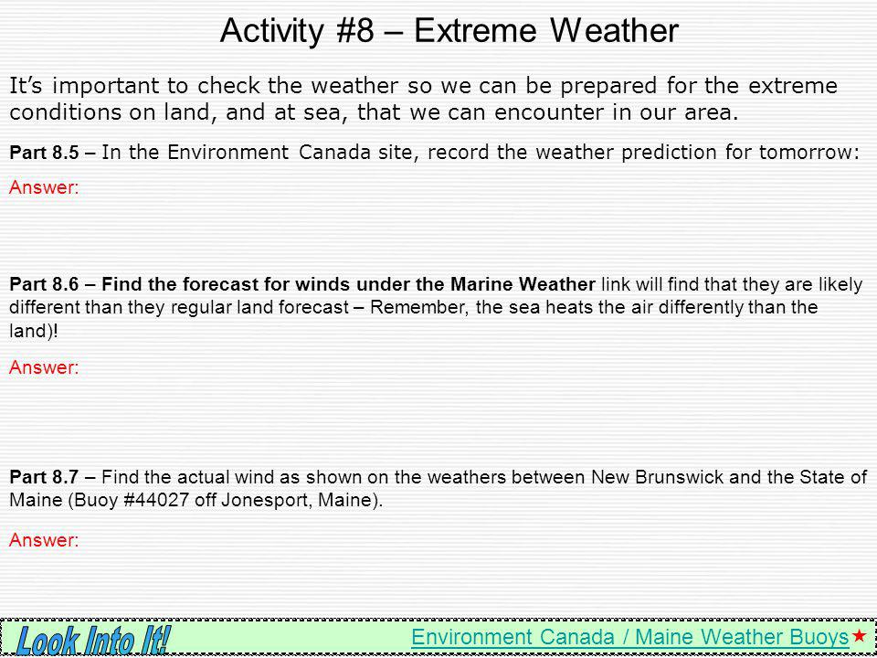 Activity #8 – Extreme Weather