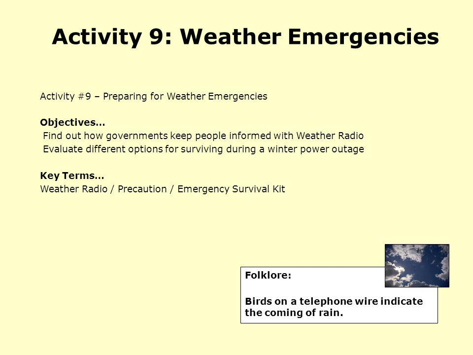 Activity 9: Weather Emergencies