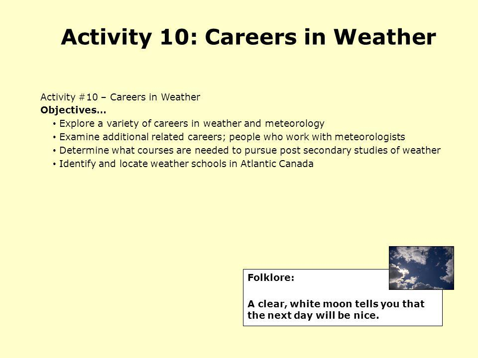 Activity 10: Careers in Weather
