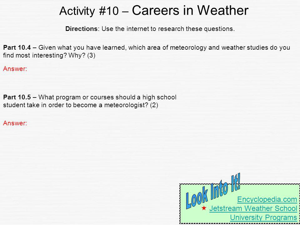 Activity #10 – Careers in Weather