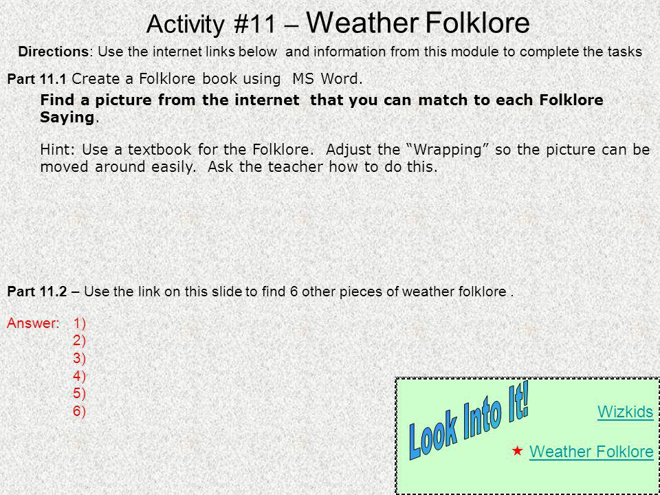 Activity #11 – Weather Folklore