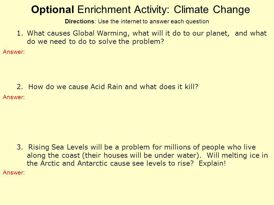 Optional Enrichment Activity: Climate Change