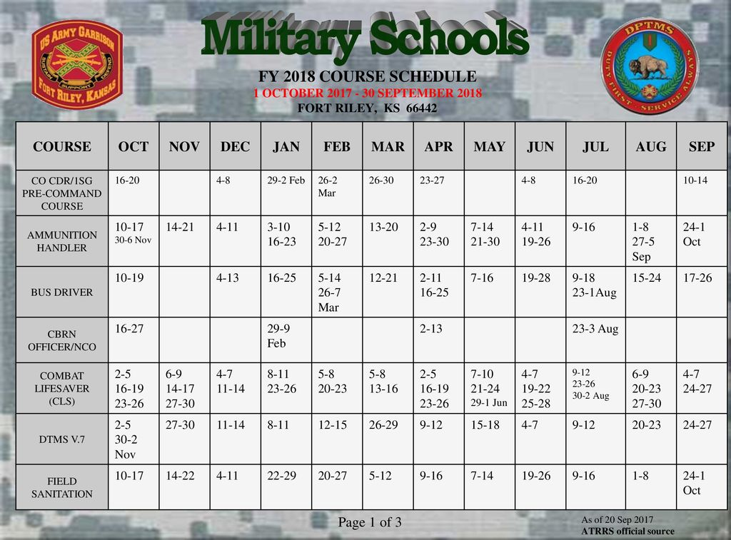 Military Schools FY 2018 COURSE SCHEDULE 1 OCTOBER SEPTEMBER