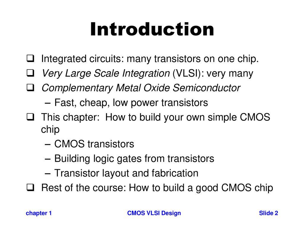 Cmos Vlsi Design Chapter 1 Introduction Ppt Download