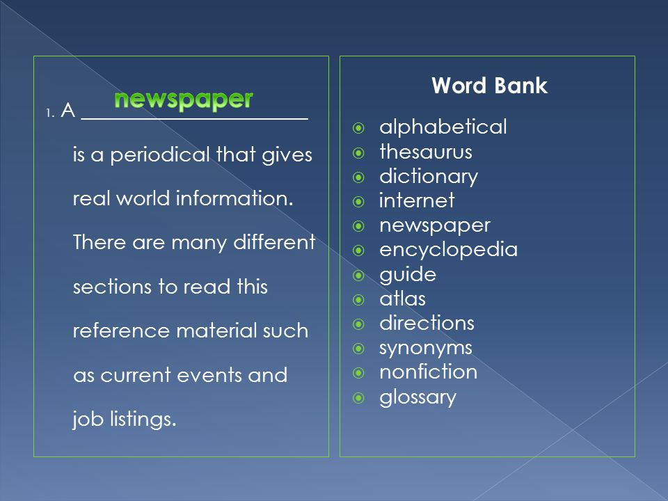 newspaper Word Bank alphabetical thesaurus dictionary internet