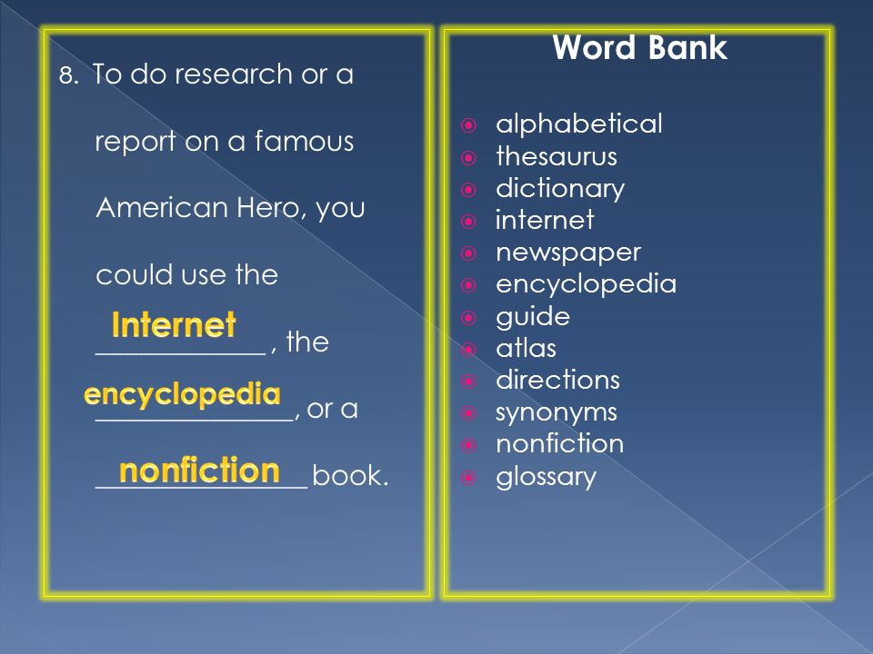 Word Bank Internet nonfiction