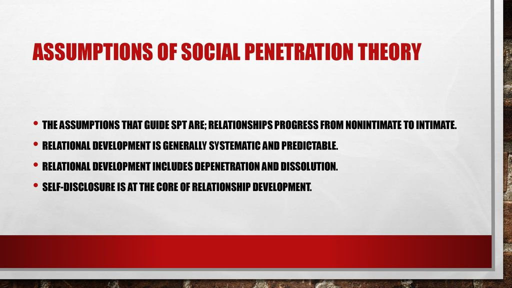 Assumptions of social penetration theory