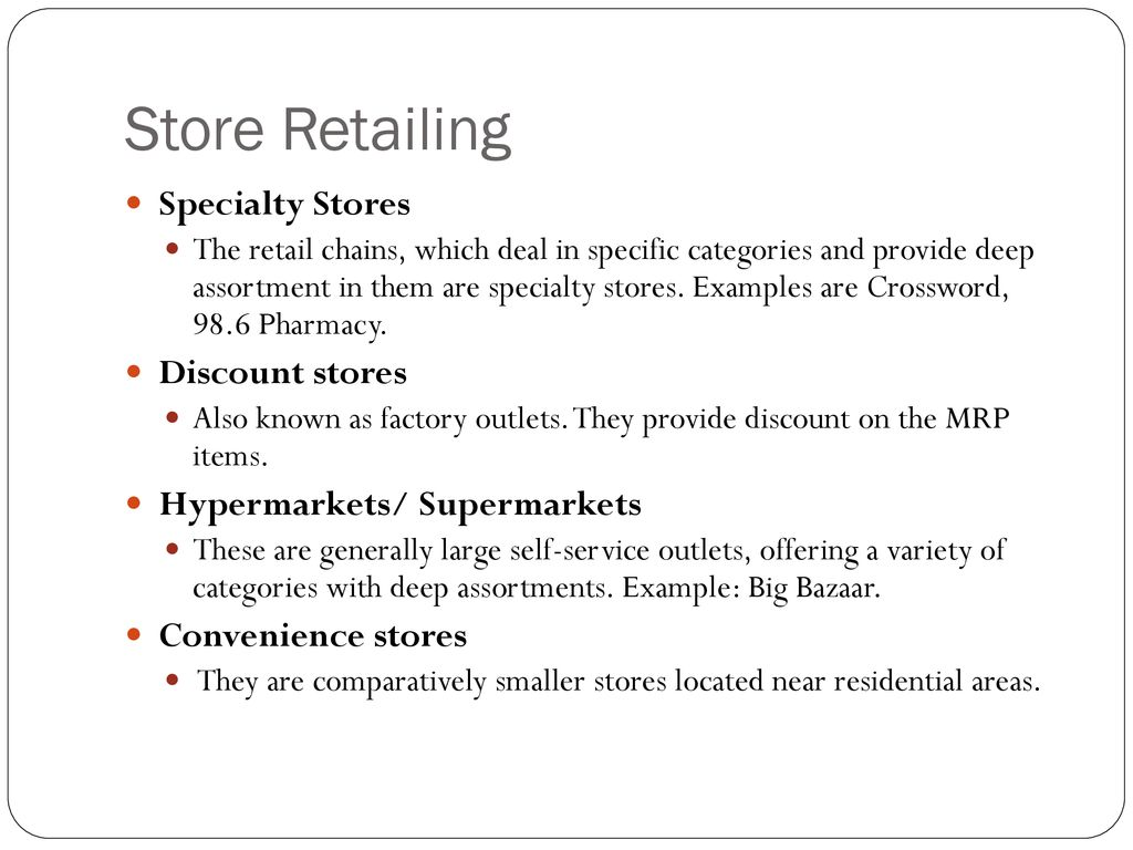 Types of Retail Formats - ppt download