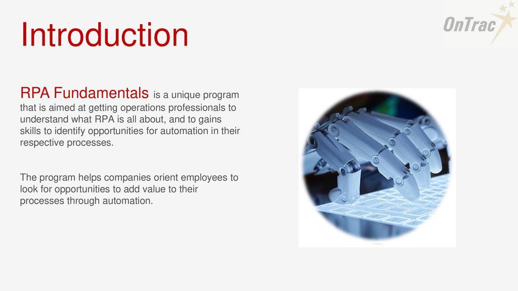 RPA Fundamentals Robotic Process Automation - ppt download