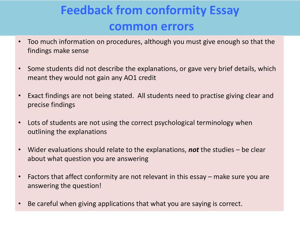Science Argumentative Essay Topics Feedback From Conformity Essay 1984 Essay Thesis also Proposal Essays Feedback From Conformity Essay  Ppt Download Animal Testing Essay Thesis