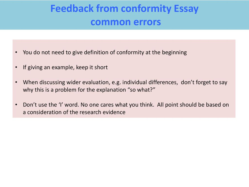 Public Health Essay Feedback From Conformity Essay Essay Thesis Example also Essay On Cow In English Feedback From Conformity Essay  Ppt Download English Essay Samples