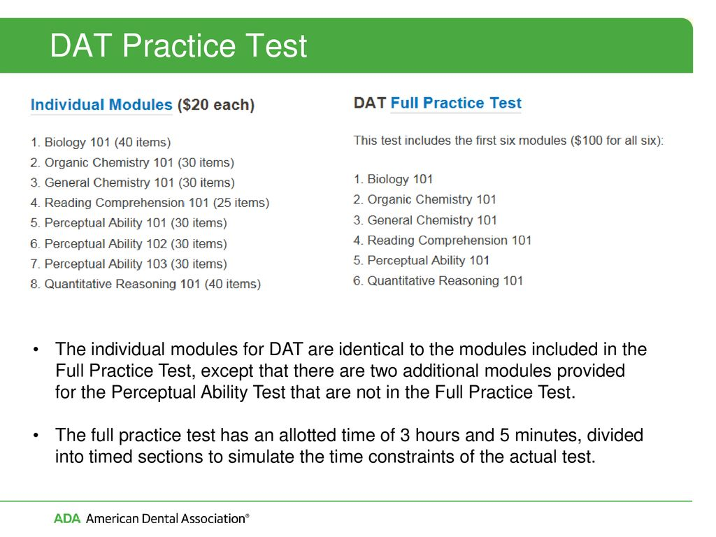 Vital Information and Tips for Taking the DAT - ppt download