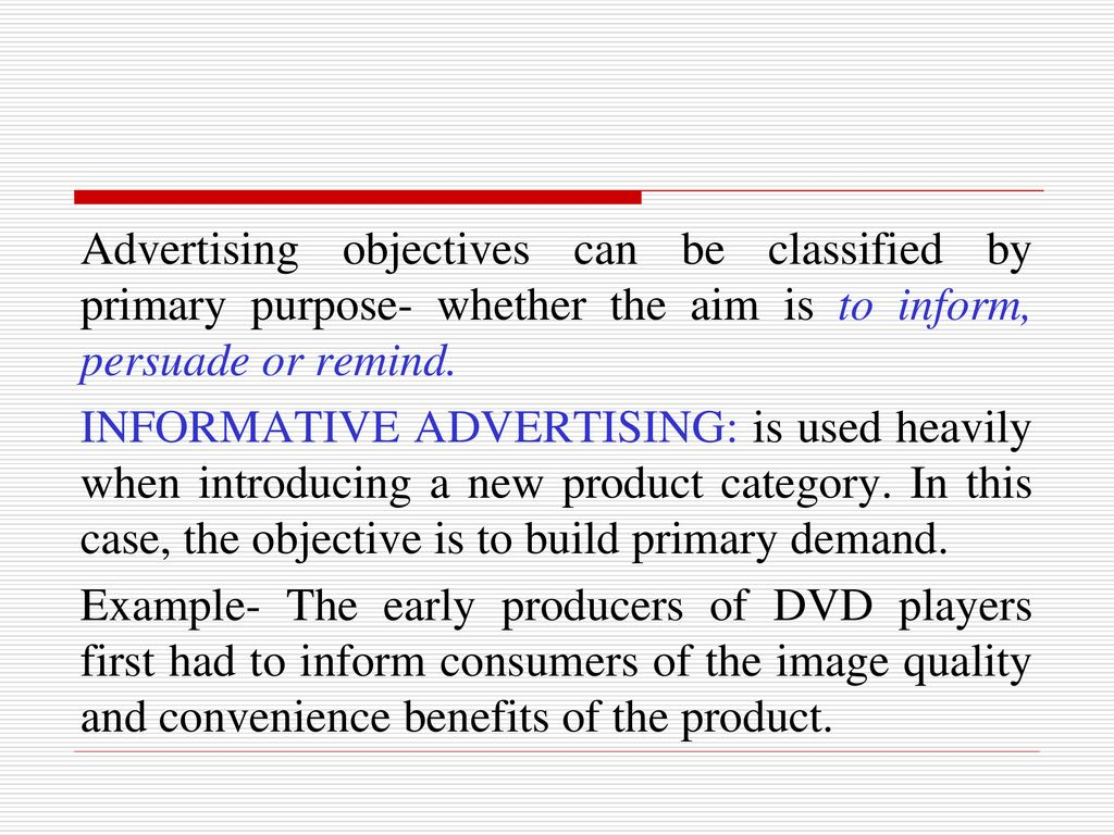 4 advertising objectives