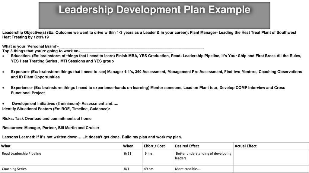 leadership development plan example