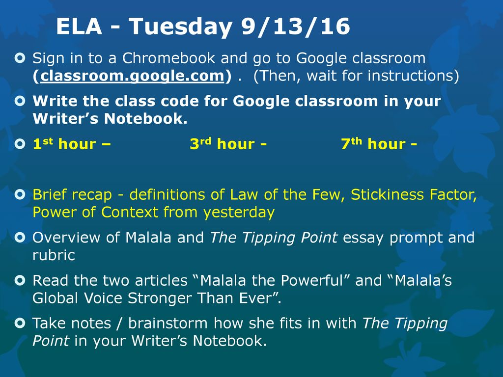 Thesis Statement Examples For Essays Ela  Tuesday  Sign In To A Chromebook And Go To Custom Term Papers And Essays also Do My Homewirk All Classes  Monday  Pick Up A Chapter  Graphic Organizer  Sample Persuasive Essay High School