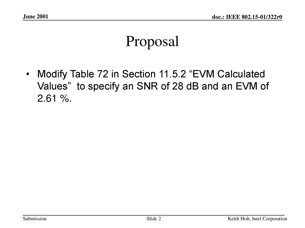 June 2001 Proposal. Modify Table 72 in Section EVM Calculated Values to specify an SNR of 28 dB and an EVM of 2.61 %.