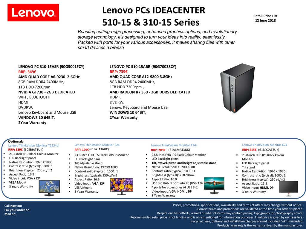 Lenovo PCs IDEACENTER & Series Retail Price List 12 June ppt