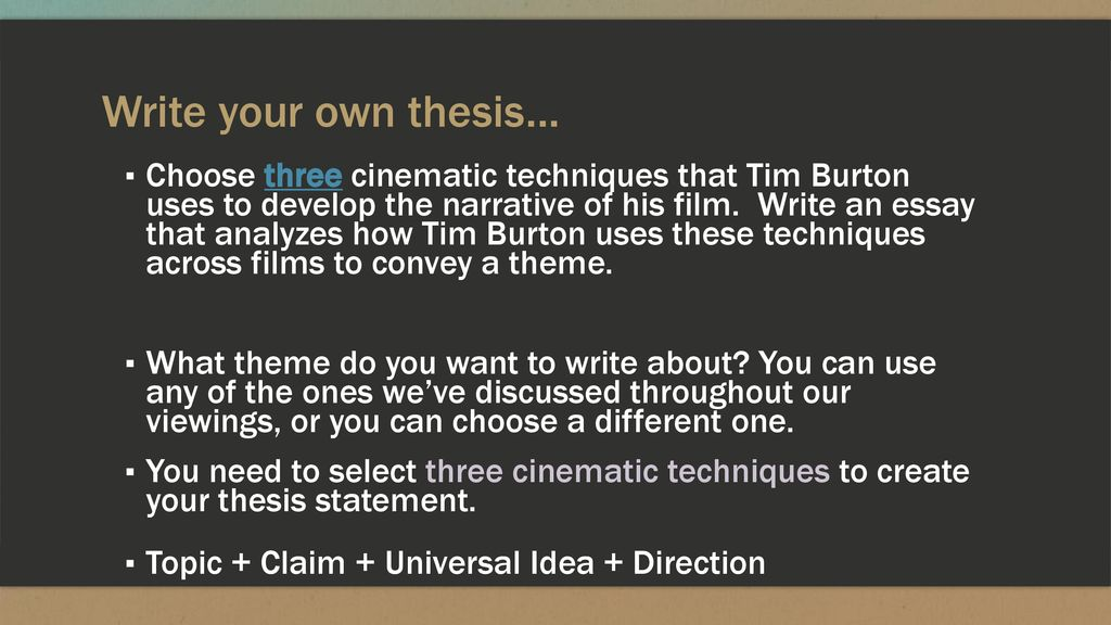 Proposal Argument Essay Examples  Write  Thesis Essay also Essays On Different Topics In English Tim Burton Essay  Ppt Download Interesting Persuasive Essay Topics For High School Students