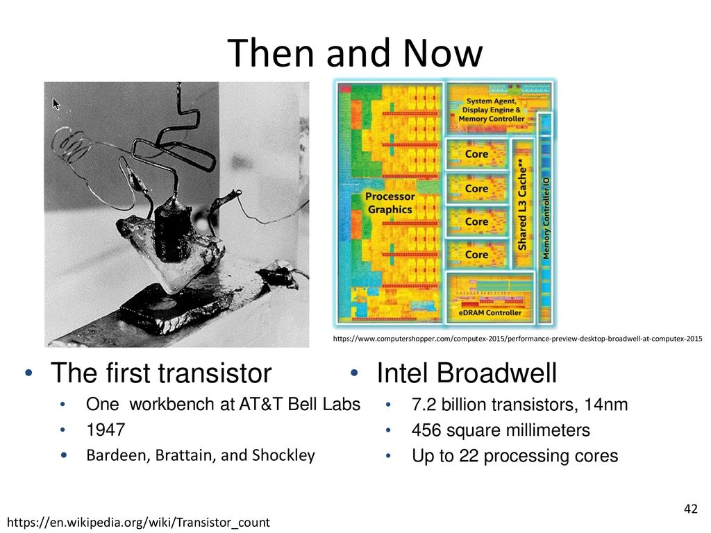 Gates And Logic From Transistors To Circuits Bell Labs Integrated Circuit Work 2 Examples Of 41 Then Now The First Transistor Intel Broadwell One Workbench At Att