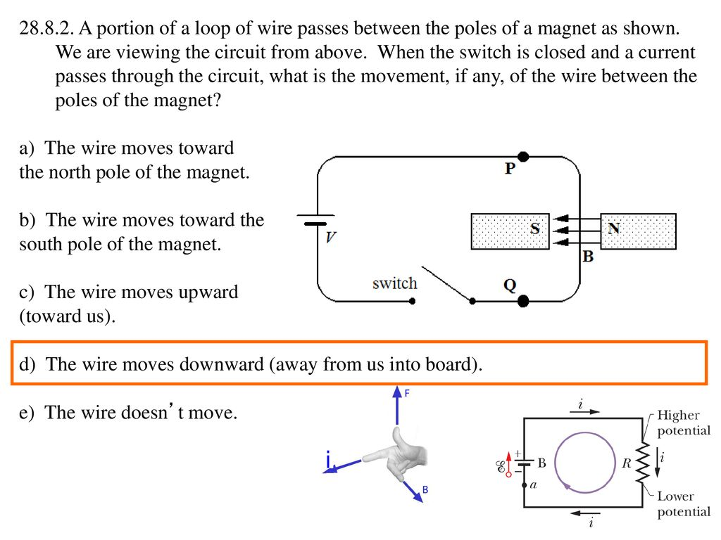 Lecture 25 Wed 21 Oct Magnetic Fields Iii Ppt Download Ke Wiring Diagram A Portion Of Loop Wire Passes Between The Poles Magnet As Shown